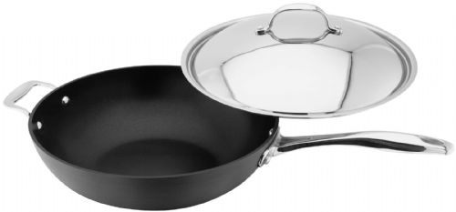 Stellar 6000 Hard Anodised Non-Stick Wok with Lid 30cm